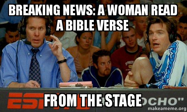 Breaking News A Woman Read A Bible Verse From The Stage Cotton