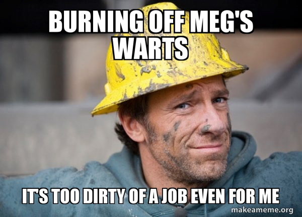 Burning off Meg's Warts It's TOO Dirty of a Job even for me - A