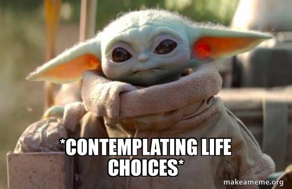 Baby Yoda looking at you meme