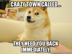 Crazy town called... they need you back immediately. - Doge | Make a Meme