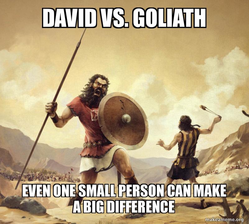 David vs. Goliath even one small person can make a big difference ...