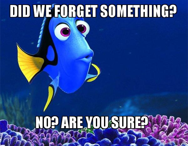Did we forget something? No? Are you sure? - Dory from Nemo (5 second  memory)   Make a Meme