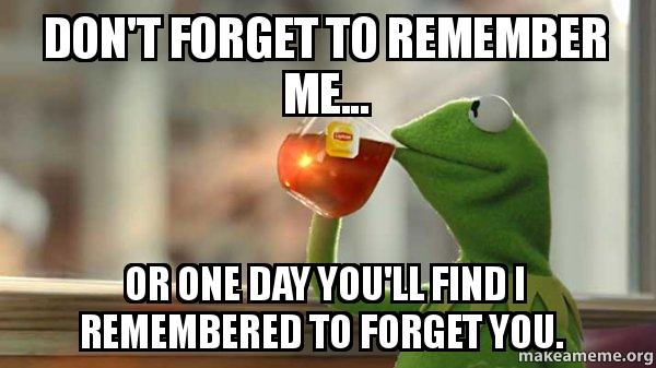 Dont Forget To Remember Me Or One Day Youll Find I Remembered