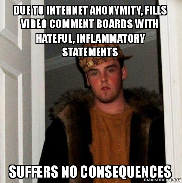 Due to internet Anonymity, Fills video comment boards with ...