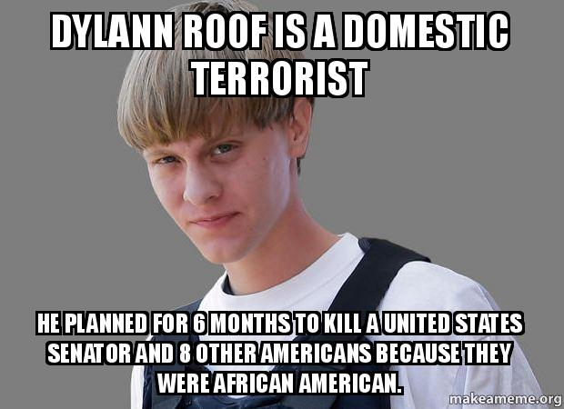 Dylann Roof Is A Domestic Terrorist He Planned For 6