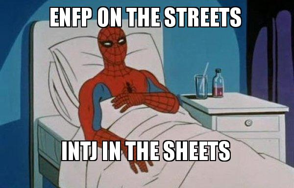 ENFP ON THE STREETS INTJ IN THE SHEETS - Spiderman Cancer