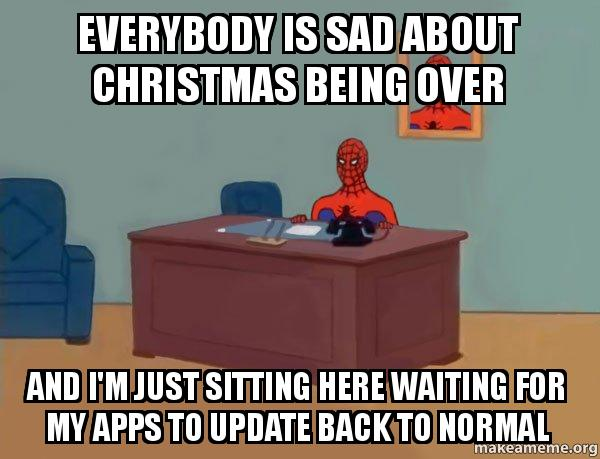 Everybody Is Sad About Christmas Being Over And I M Just Sitting