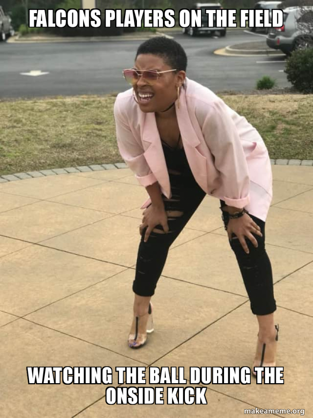 Falcons Players On The Field Watching The Ball During The Onside Kick Make A Meme
