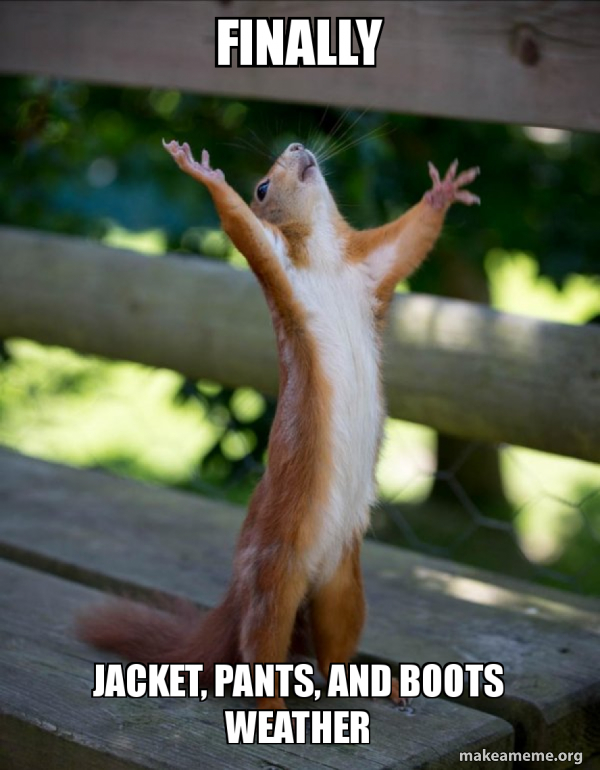 Finally Jacket, pants, and boots weather , Happy Squirrel