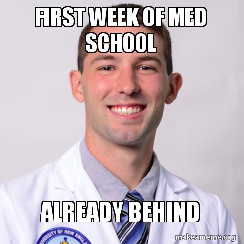 first week of med school already behind | Make a Meme
