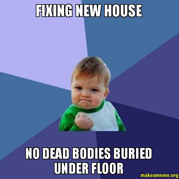 fixing new house fixing new house no dead bodies buried under floor make a meme