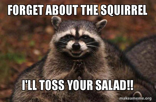 forget about the fadwxt forget about the squirrel i'll toss your salad!! evil plotting