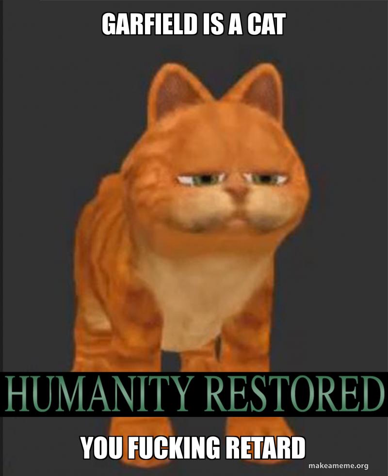 Garfield Is A Cat You Fucking Retard Make A Meme