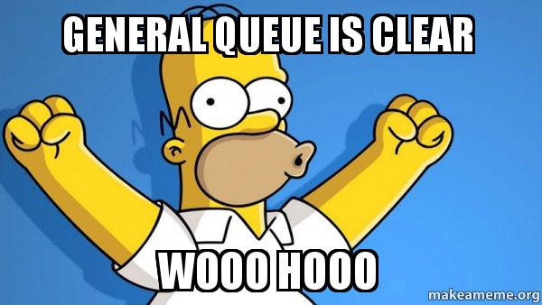 General Queue is clear wooo hooo - Happy Homer | Make a Meme