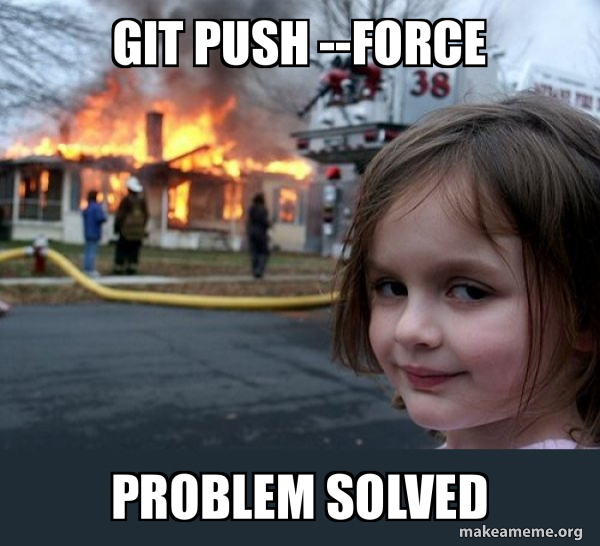 git push --force problem solved - Disaster Girl | Make a Meme