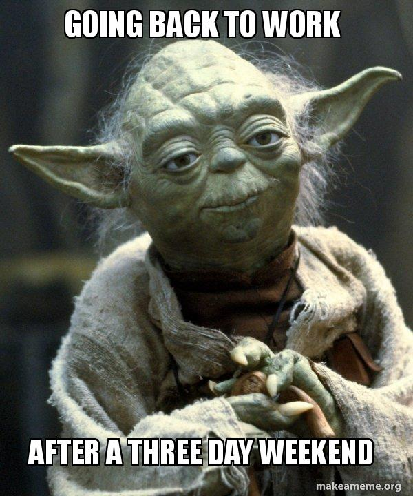 Going back to work After a three day weekend - Yoda | Make a Meme