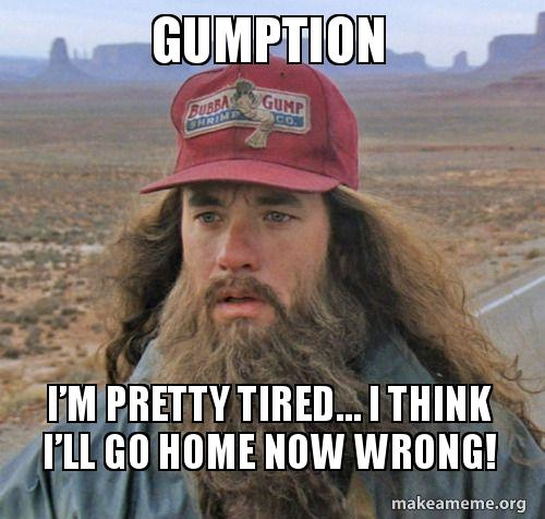 gumption im pretty gumption i'm pretty tired i think i'll go home now wrong! make a meme