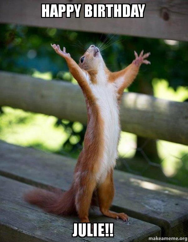 happy birthday julie meme Happy Birthday Julie!!   Happy Squirrel | Make a Meme happy birthday julie meme