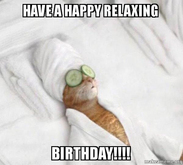 have a happy tlvvli have a happy relaxing birthday!!!! pampered cat meme make a meme