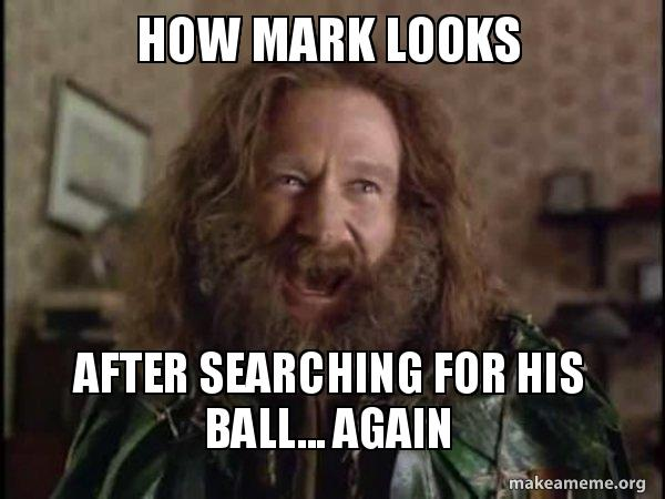 HOW MARK LOOKS AFTER SEARCHING FOR HIS BALL    AGAIN - Robin