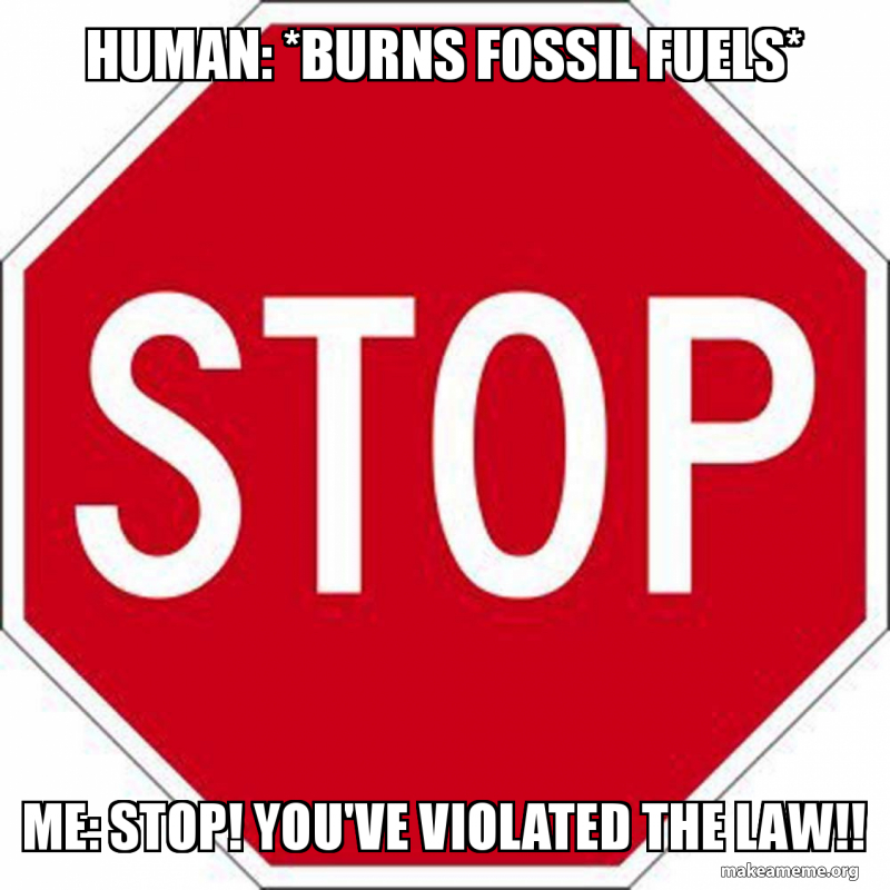Human Burns Fossil Fuels Me Stop Youve Violated The Law