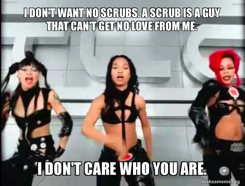 I don't want no scrubs. A Scrub is a guy that can't get no love from me. I  don't care who you are. | Make a Meme