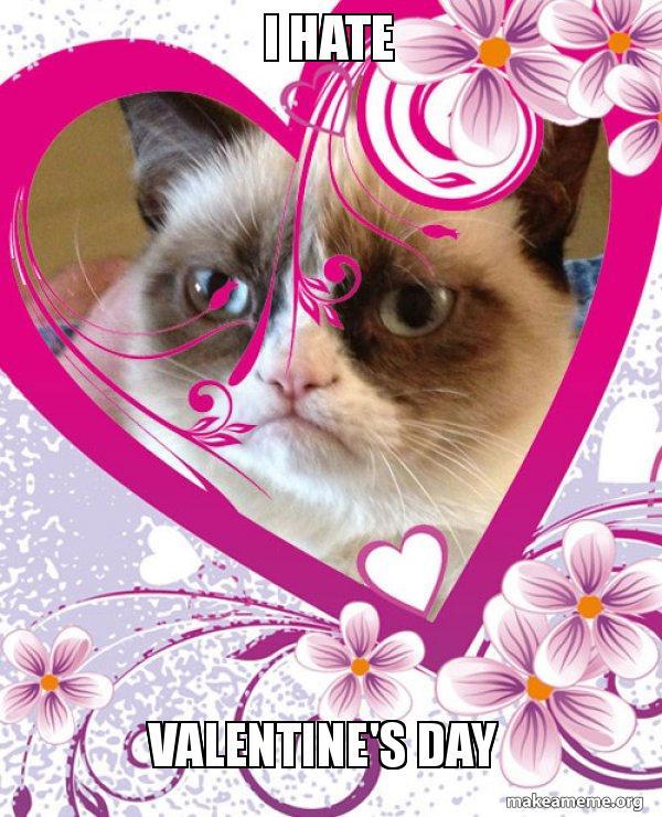 I Hate Valentine S Day Grumpy Cat Valentines Day Make A Meme