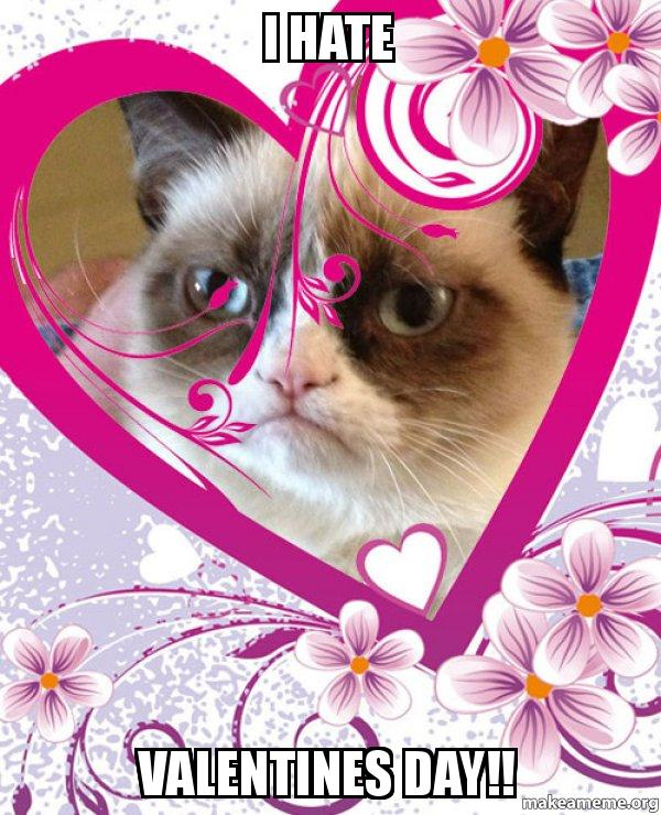 I Hate VALENTINES DAY!! - Grumpy cat Valentines Day | Make a Meme