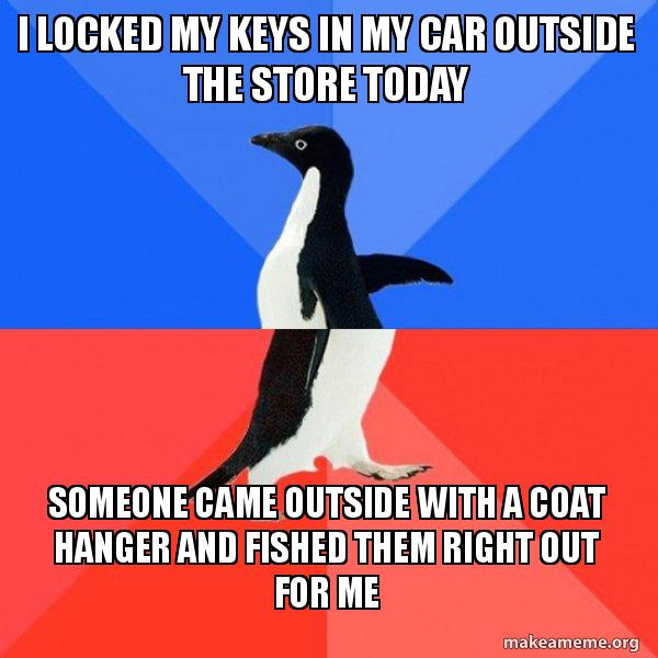 i locked my keys in my car coat hanger