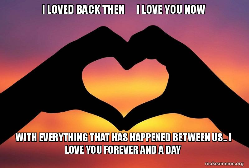 I Loved Back Then I Love You Now With Everything That Has Happened Between Us I Love You Forever And A Day Love Make A Meme