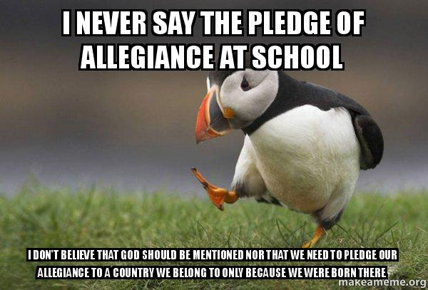 should the pledge be said in Many public schools in the united states ask students to recite the pledge of  allegiance  conflict: a school may lead students in reciting the pledge, but it  must also respect the wishes of students who choose not to join in  the court  said.