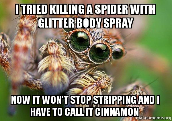 i tried killing a spider with glitter body spray now it won t stop stripping and i have to call