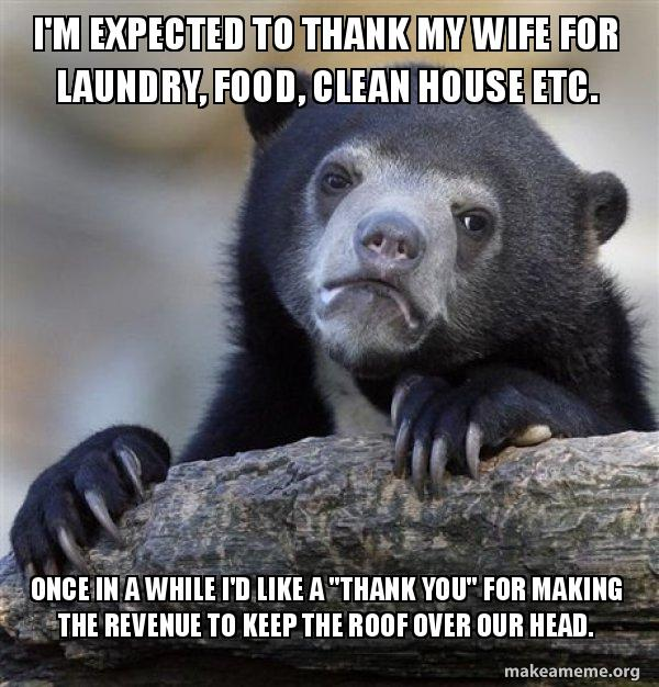 I M Expected To Thank My Wife For Laundry Food Clean