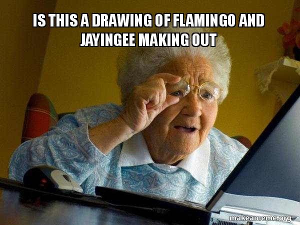 is this a drawing of flamingo and jayingee making out - Internet