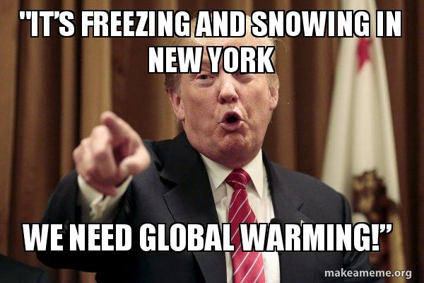 its freezing and it's freezing and snowing in new york we need global warming