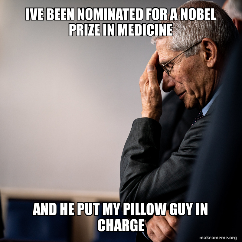 Ive Been Nominated For A Nobel Prize In Medicine And He Put My Pillow Guy In Charge Make A Meme