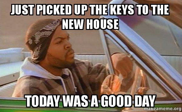just picked up dg3bbg just picked up the keys to the new house today was a good day