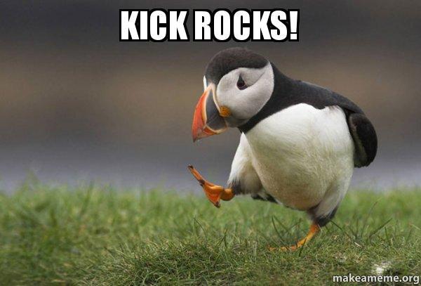 Image result for kick rocks meme