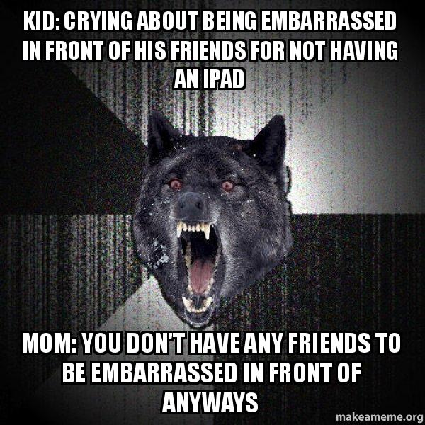 Argument between a kid and his mom at khols insanity wolf kid crying