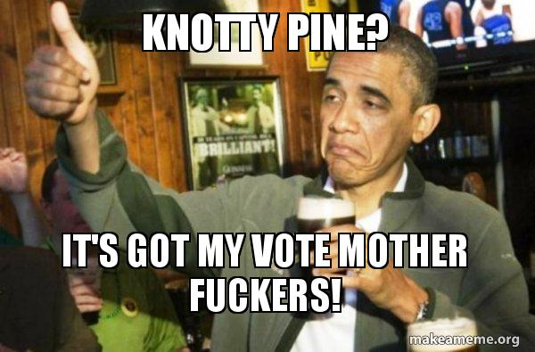Knotty Pine Its Got My Vote Mother Fuckers Upvote Obama Make