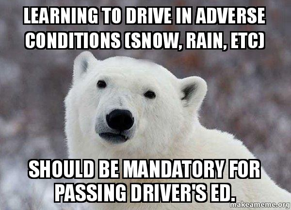 Drivers Ed Meme >> Learning to drive in adverse conditions (snow, rain, etc) should be mandatory for passing driver ...