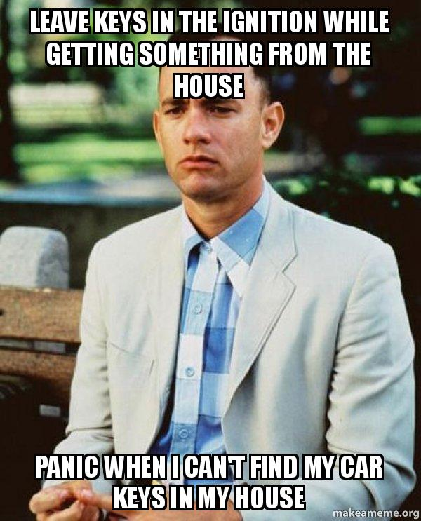 leave keys in leave keys in the ignition while getting something from the house