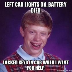 left car lights on battery died locked keys in car when i went for