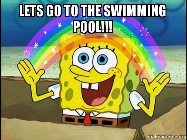 Spongebob Imagination Meme Funny : Lets go to the swimming pool rainbow spongbob make