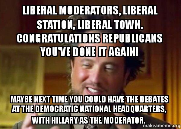 liberal moderators liberal liberal moderators, liberal station, liberal town congratulations,Moderator Meme