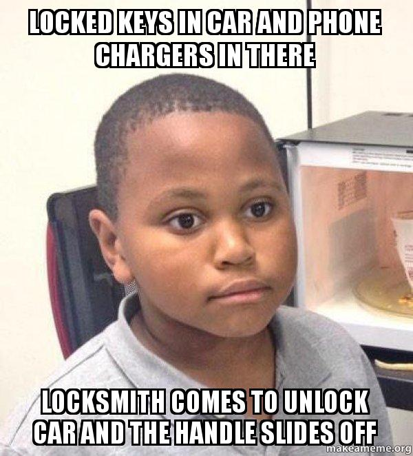 locked keys in car and phone chargers in there locksmith comes to