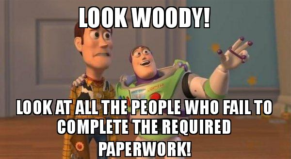... required paperwork! - Buzz and Woody (Toy Story) Meme | Make a Meme