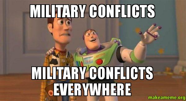 ... conflicts everywhere - Buzz and Woody (Toy Story) Meme | Make a Meme