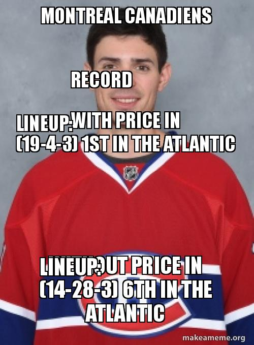montreal canadiens record montreal canadiens record with price in lineup (19 4 3) 1st in,Montreal Canadians Memes