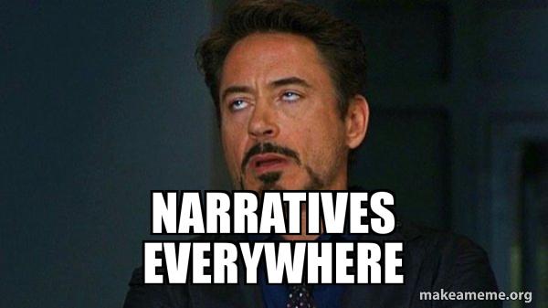narratives everywhere - Tony Stark Eye Roll | Make a Meme